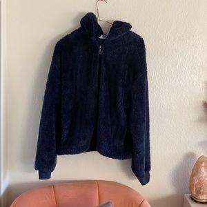 Super fuzzy navy blue zip up jacket
